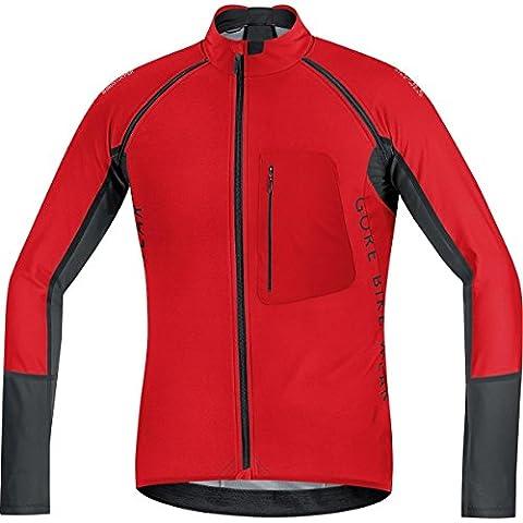 GORE BIKE WEAR 2 in 1 Herren Soft Shell Mountainbike-Jacke, Abnehmbare Ärmel, GORE WINDSTOPPER, ALP-X PRO WS SO, Größe: L, Rot/Schwarz, SWPALP