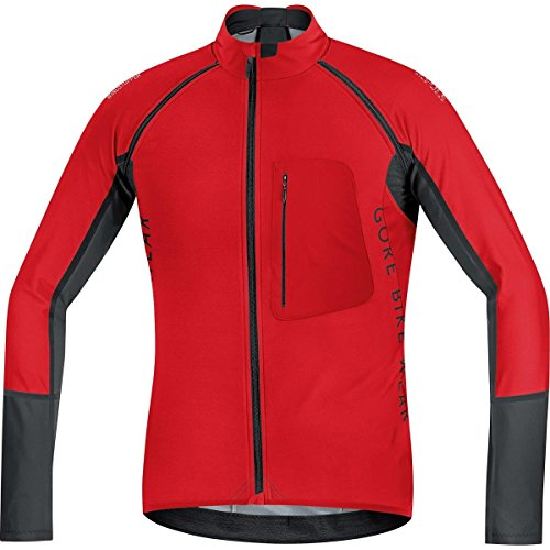 GORE BIKE WEAR- Hombre- Maillot de ciclismo- ALP-X PRO WINDSTOPPER Soft Shell Zip-Off,, color rojo/negro, talla S, SWPALP