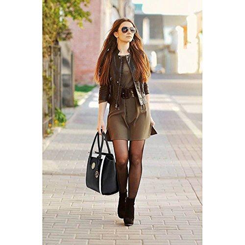 TrendStar Damen Schultertragetaschen Damen Neue Promi Stil Designer Kunstleder Handtaschen Schwarz/Weiß 2