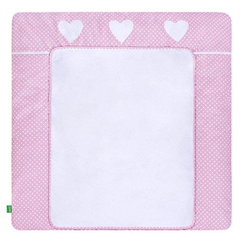 LULANDO Wickelauflage mit 2 abnehmbaren und wasserundurchlässigen Bezügen. 76 x 76 cm. Oberstoff 100 {5cc785bef87ad174479257fb4f3481ae2a031734a0944ed8aeef6430adf8fc87} Baumwolle. Passend u.a. für die Kommode IKEA Malm, White Dots / Pink