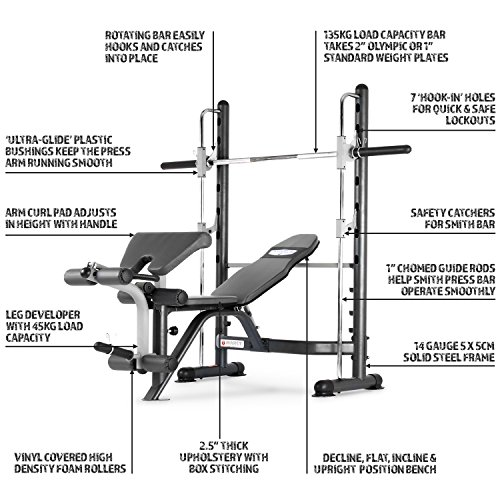 Marcy TSA-5762 Half Smith Machine and Weight Bench | HIIT