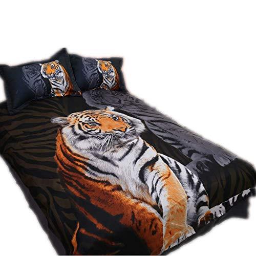 CHAOSE Sonnenuntergang Elch, Tiger und Red Wolf Bettwäsche Set,Superweiche Polyester-Baumwolle,3-teilig (1 Bettbezug + 2 Kissenbezüge 48x74cm) (Königsstil, King Size(220x240CM 2M Breites Bett)) -