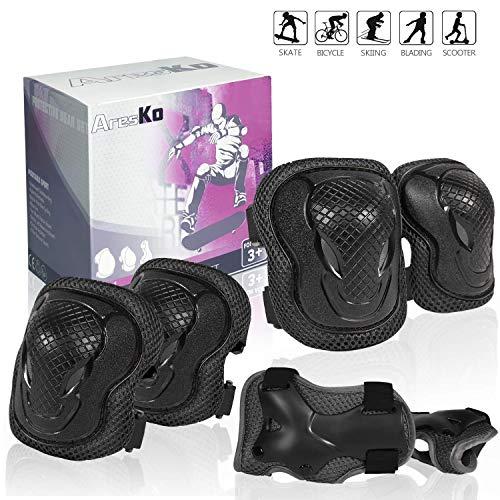 AresKo Knieschoner Kinder, Inliner für Kinder Protektoren Knieschützer Set, 6 in 1 Ellenbogenschoner Handgelenkschoner Schutzausrüstungen Set (Schwarz)