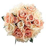 Famibay Rosen Künstliche Blumen 2 Blumenstrauß Blumenschmuck für Haus Gefälschte Blumen Braut Hochzeitsblumenstrauß 18 Rosen Köpfe für Haus Garten (Sanfte Koralle)