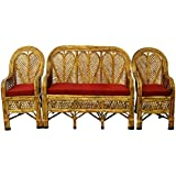 All INDIA HANDICRAFTS Cane Bamboo Sofa Set With Table (Brown)