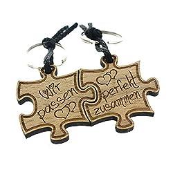 Lieblingsmensch 2er Set Gravur Partner Schlüsselanhänger aus Holz - Modell: Wir passen perfekt zusammen