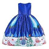 Ansenesna Kinder Weihnachten Kleid Kostüm Mädchen Prinzessin Weihnachtsmann Drucken Elegant Weihnachts Kleid Für Party (140, Dunkelblau)