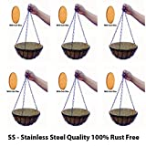 """#6: Pack of 6-10"""" SS - Stainless Steel Quality 100% Rust Free Round Coir Hanging Basket with Coir Pot Full Set with Hanger/Chain/Hanging Pots/with 6 Nos of Coir Pith Disk by Little Monkey"""