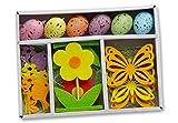 16-teiliges Osterdekorations-Set: 6 Ostereier zum Hängen, 2 Dekoblumen, 4 Schmetterlinge, 4 Vögel, aus Holz, Filz und Kunststoff, Ostern Blumen Eier Flühling