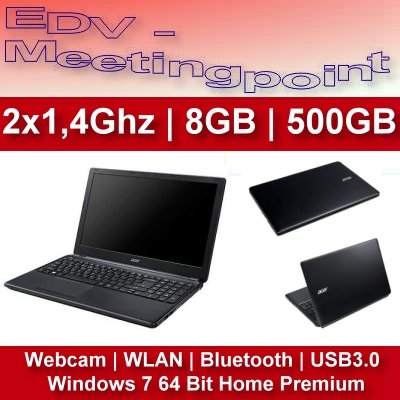 Notebook ACER E1-532 | 500 GB | 8 GB RAM | Windows 7 | WEBCAM | WLAN -