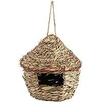 Casa degli Uccelli di Paglia Feeder Casa con Tetto in Casa per Uccelli Nido di Uccello Bird House Casetta Nido Mangiatoia per Uccelli Gabbia per Uccellini Appendere(grande)