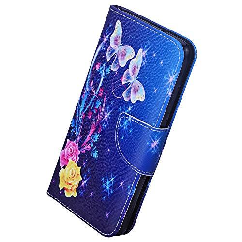 Herbests Kompatibel mit Huawei P20 Lite 2019 Handyhülle Flip Wallet Brieftasche Hülle Leder Bookstyle Tasche Case Handytasche Hülle Ledertasche Klapphülle Kartenfächer,Rose Schmetterling