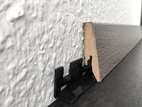 Befestigungs-Clip für Fußbodenleisten mit Profil HR66 - 30 Stück   Unsichtbare Steck-Befestigungen aus Kunststoff für Sockellleisten   Fußleisten-clip, Leisten-Clips (Endkappe Eiche)
