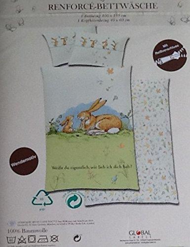 Weißt du eigentlich, wie lieb ich dich hab? Wende-Bettwäsche (Babybettwäsche), 1 x Kopfkissenbezug 40 x 60 cm und 1 x Bettbezug 100 x 135 cm, 100 % Baumwolle mit Reißverschluss