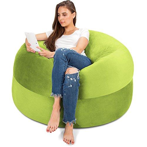 Charlie & Finn XXL Sitzsack in Grün - Gemütlicher Velour Bezug mit Weicher Memory Schaumstoff Füllung – Riesen Bett, Großes Sofa, Gaming Sitzkissen Sessel, Sitz Sack für Kinder, Teenager & Erwachsene