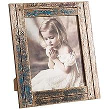 Marco de Fotos de Madera Natural Azul 20x25 rústico para decoración Bretaña - LOLAhome