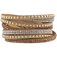 Lux accessori marrone tono oro con cristalli e pietre champagne Wrap Bracelet - Tono Oro Charm Bracelet Bracciale