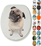 Soft Close Toilet Seat | Wide choice of new Toilet Seats | High-quality surface | Stable Hinges | Easy to mount (Pug)
