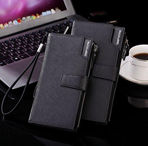 Teemzone Portmonee Port Portemonnaie Brieftasche Geldbörse Kartenfach Clutch Geldbeutel Geldtasche Leder Blau