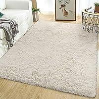Softlife Fluffy Area Rugs for Bedroom Shaggy Floor Carpet Cute Rug for Girls Room Living Room Nursery Home Decor 5.3' x 7.6' Rectangle Off-white