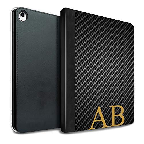 eSwish Personalisiert Kohlenstoff-Faser Muster PU-Leder Hülle für iPad Pro 10.5 (2017) / Grau Monogramm Design/Initiale/Name/Text Tablet Schutzhülle/Tasche/Etui (Kohlenstoff-faser-buchstaben)