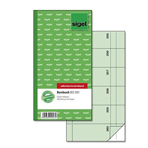 Sigel BO091 Bonbuch, 360 Abrisse grün, 10,5 x 20 cm, 2x60 Blatt, selbstdurchschreibend