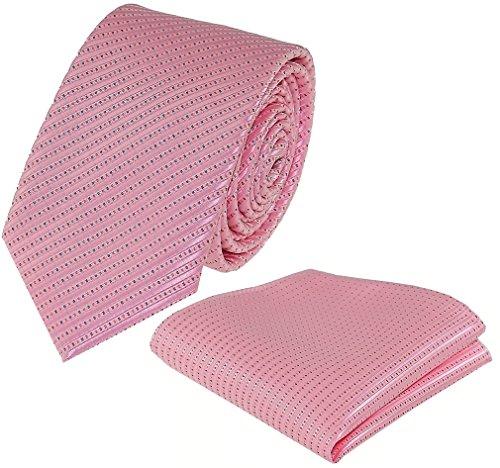 Rosa Binder 2 (Louis Binder de Luxe Krawatte mit Einstecktuch 2er Set Schlips Tie Necktie 141 rosa)