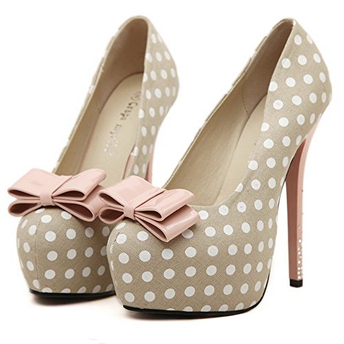 AgooLar Femme Dot En Tissu à Talon Haut Rond Tire Chaussures Légeres Abricot
