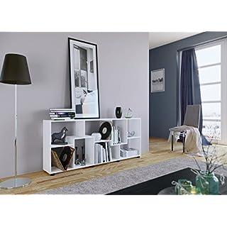 AI SEN Regal PISA A mit 8 Fächern, Weiß Dekor, Maße 161 x 69 x 25 cm