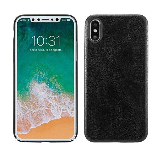 Case für iPhone X, Thin Fit Hülle PU Leder Tasche Schutzhülle mit Soft Feel Coating für für iPhone X, Braun Schwarz
