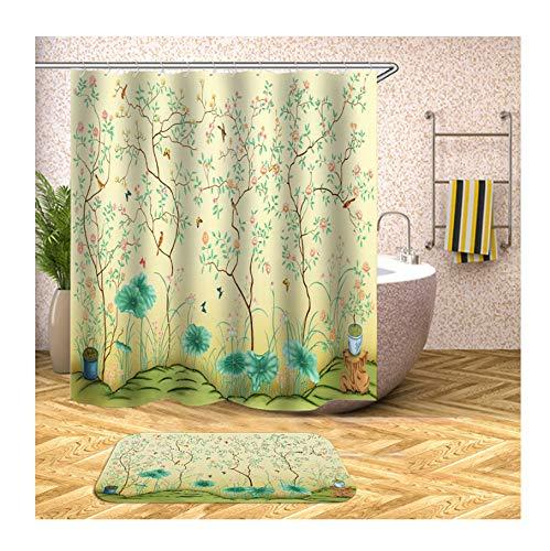 Bishilin Pflanze Bad Vorhang für Badezimmer 180x200, Badezimmerteppich Toilette 40x60 Badematte Toilette (Alphabet Jungle-teppich)