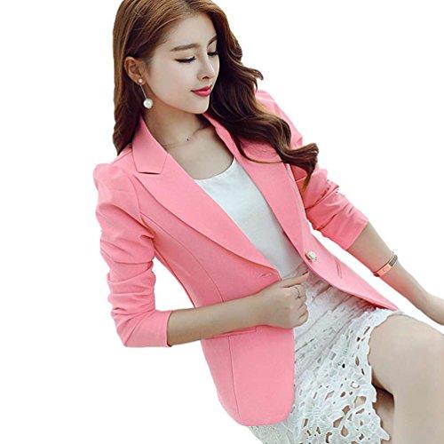 YiLianDa Mujer Elegant Blazers Abrigo OL Casual Cardigans Chaqueta Coat Primavera Otoño Outwear Rosa...