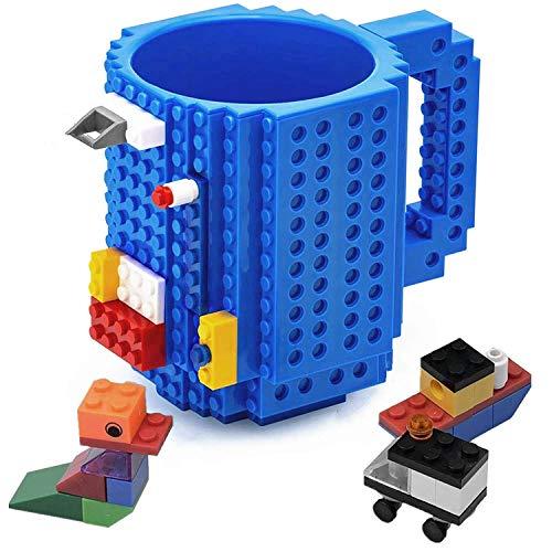 VANUODA Build on Brick Mug, Building Blocks Tasse Puzzle Becher, Vatertag Weihnachten Geschenk Idee, Kompatibel für Lego (Blau)