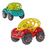 Xurgm 2 Stück Baby Silikon Rattle and Roll Auto, Das rasselt und fährt