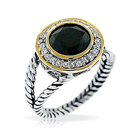 Sterling Silver Round Simulated Black Onyx Two Tone Double Cable Ring