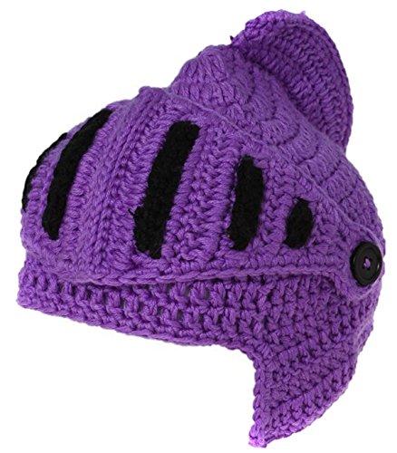 EJY Neuheit römischen Ritter Helm Caps Handgemachte Knit warme Winter-Maske Mützen Kid Partei-Schablone Mützen (kleine für Kinder, lila) (Cap Knit Cotton)