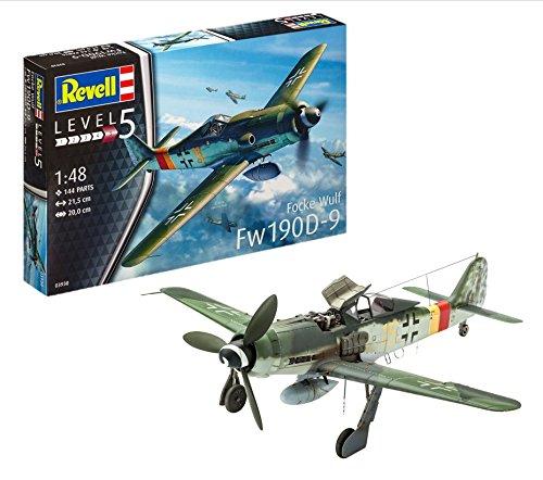 Revell Modellbausatz Flugzeug 1:48 - Focke Wulf Fw190 D-9 im Maßstab 1:48, Level 5, originalgetreue Nachbildung mit vielen Details, 03930