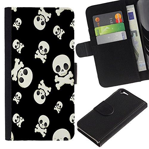 Graphic4You Lachend Schädel Totenkopf Design Brieftasche Leder Hülle Case Schutzhülle für Apple iPhone 6 / 6S Design #5