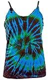 Guru-Shop Farbenfrohes Goa-Batik Top, Batiktop - Türkis, Damen, Blau, Baumwolle, Size:36, Tops, T-Shirts, Shirts Alternative Bekleidung