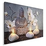 Feeby, Leinwandbild, Bilder, Wand Bild, Wandbilder, Kunstdruck 80x120cm, Buddha, Zen-Kultur, Kerzen, Blumen