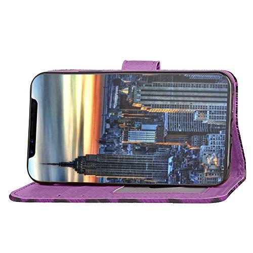 JIALUN-étui pour téléphone Housse horizontale Flip Stand Leopard Texture Housse en cuir PU Pretection pleine corps Housse TPU avec embouts pour cartes et fermeture magnétique pour iPhone 8 ( Color : R Purple