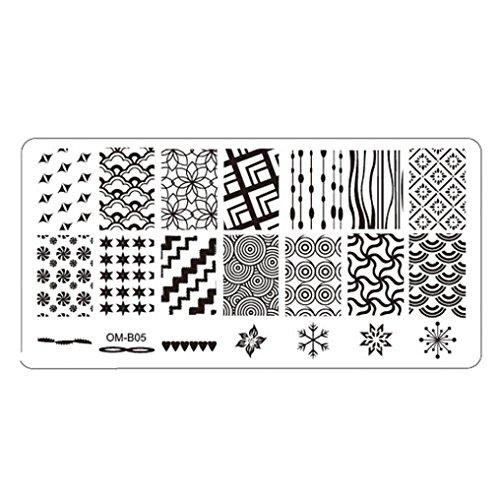 Nail stamping plates Oyedens Nail Art 1pc Imagen Placas De Estampación Del Sello Plantilla Herramienta De La Manicura Plantilla De Bricolaje (C)