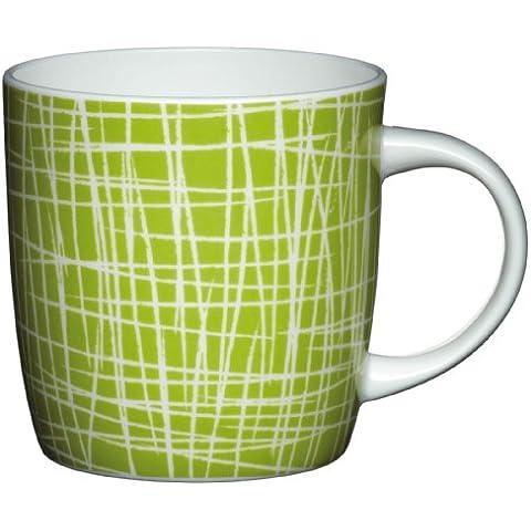 Kitchen Craft - Taza (porcelana), diseño de rayas, color verde