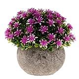 Fenteer Künstliche Gypsophila Bonsai Pflanzen im Topf Kunstpflanze Dekopflanzen Topfpflanzen - Lila - 9