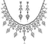 AMDXD Ensemble de Bijoux Argent Plaqué Femmes Collier Blanc Brillant Feuille D'arbre Une Fleur CZ,Comme Meilleur Cadeau pour Fille