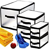 Samsonite 5 Piece Set Clear Plastic Storage Cube Organizer Bins Collapsible Boxes Container Small Medium X-Large