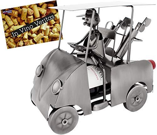 BRUBAKER Portabotellas de vino de diseño para golfistas con carrito de golf - escultura metálica con tarjeta de felicitación