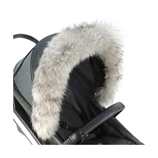 For-Your-Little-One Fur Hood Trim Pram Compatible on Combi, Light Grey For-your-Little-One Universal faux fur Snap buttons to attach Deluxe feel 1