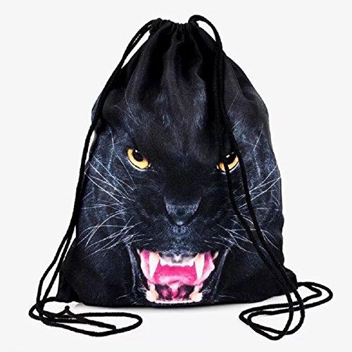 Tier Drucken Schulter Tasche (Jungen Mädchen Teenager tasche mit kordelzug & #-; Full drucken Kordelzug Rucksack Schule Schulter Rucksack Nylon Folding Bag für Schule Home Reisen Sport Aufbewahrung, African animals)