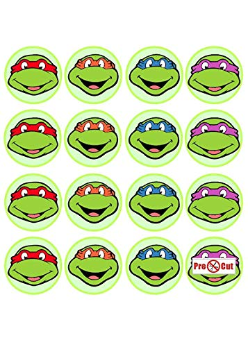 35 x Pre Cut Teenage Mutant Ninja Turtles Kuchen, Cupcake Topper/Dekoration Essbar Wafer ()